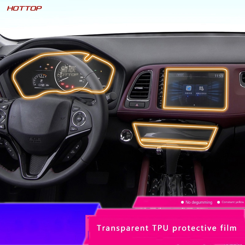 For Honda Vezel HRV 2019 2020 Car Film Interior Air Conditioner Liquid Crystal Dashboard Navigation Screen TPU Protective Film