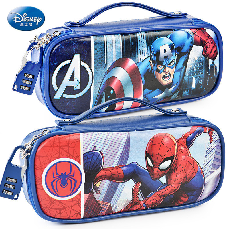 Marvel Captain America Pencil Case With Password Lock Spiderman Mickey School Supplies Large Capacity Multi-function Pencil Bag
