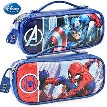 Marvel capitão américa estojo de lápis, com trava de senha, homem aranha, mickey, material escolar, grande capacidade, multifuncional