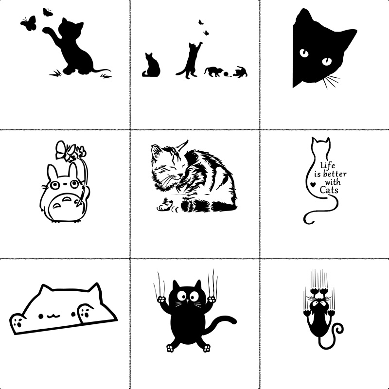 10 Styles Cat Car Stickers Funny Wrap Vinyl Cute For Cars Window Body Decoration to cover scratches Motorcycle Accessories