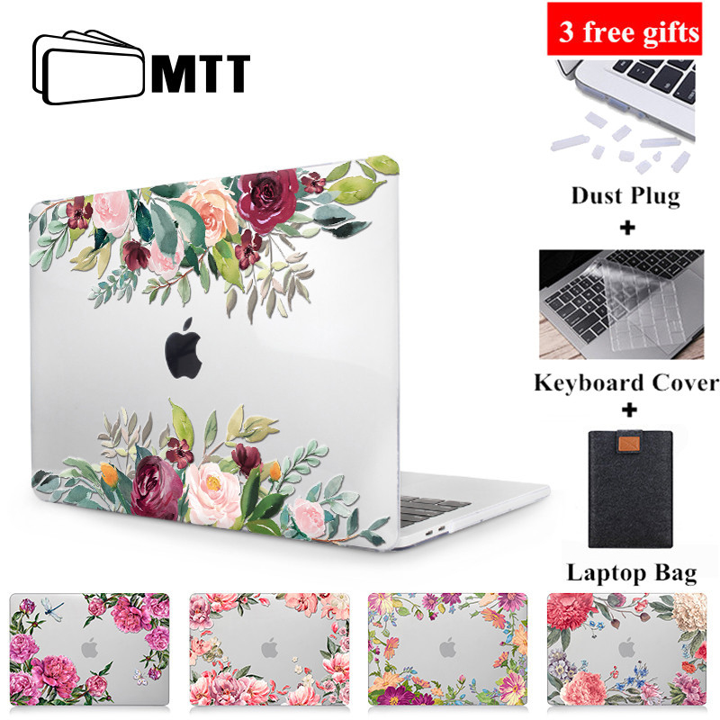 MTT Flower Laptop Case For Macbook Air 13 inch Crystal Hard Cover for macbook air pro retina 11 12 13 15 Touch Bar Laptop Sleeve