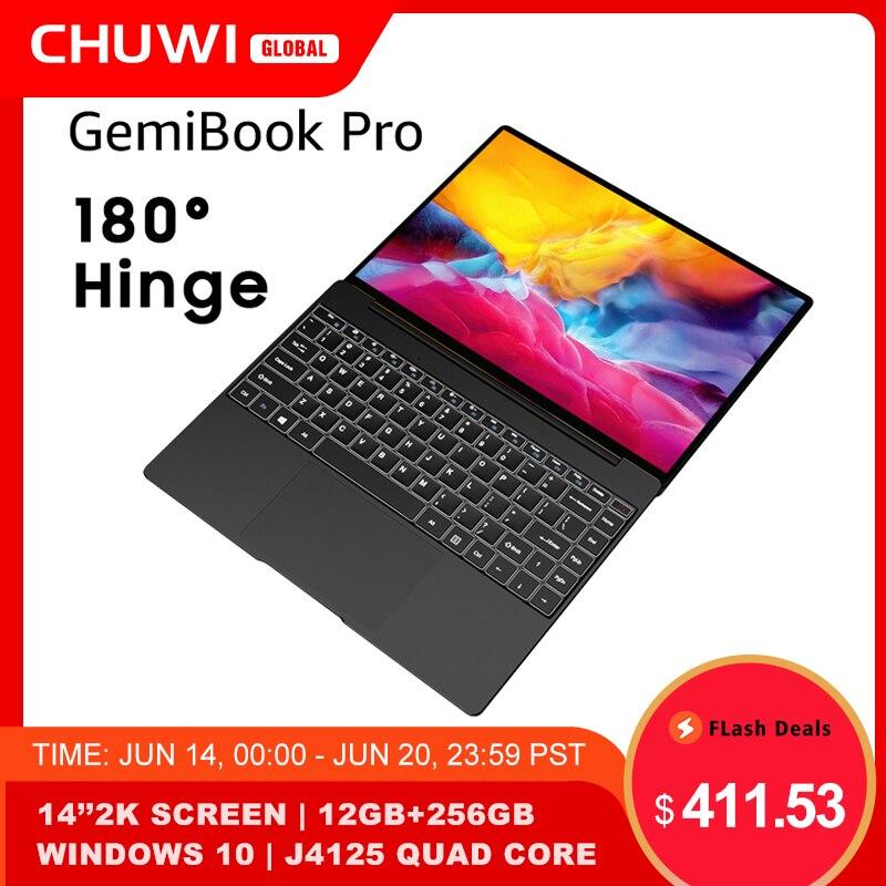 CHUWI GemiBook Pro Ноутбук, 14 дюймов, windows 10, Intel Gemini lake J4125 четыре ядра, 12 ГБ ОЗУ, 256 Гб SSD, клавиатура с подсветкой