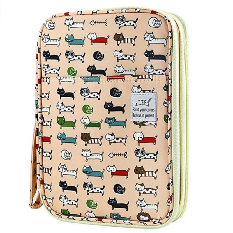 192 Slots Large Capacity Pencil Bag Case Organizer Cosmetic Bag for Colored Pencil Watercolor Pen Markers Gel Pens Bag(Small Cat|Pencil Bags|   - title=