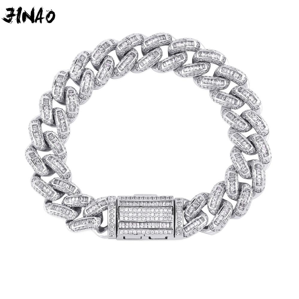 JINAO 7-9inch Miami locks Cuba link 14mm Wideth Gold And Silver Bracelet Ice Out 3A Cubic Zircon Sparkling Hip Hop Male Jewelry