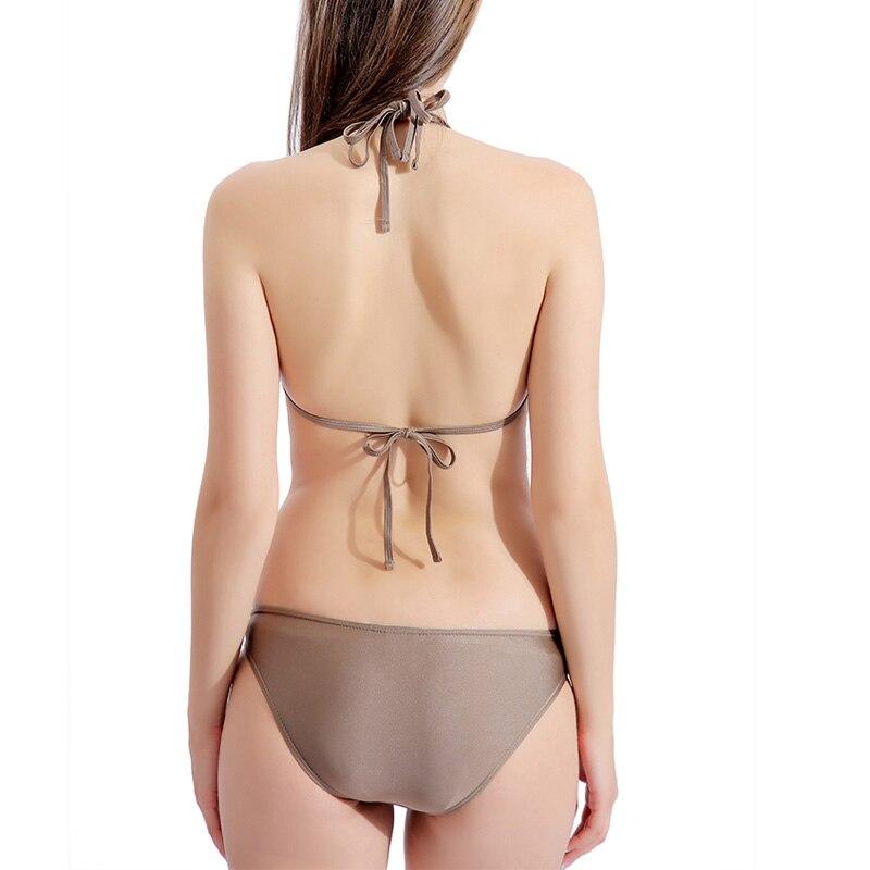 Riseado Strap Halter Bikinis Women Solid Swimsuits Push Up Swimwear Sexy 2020 Mirco Bikinis Summer Beach Wear Biquini Bathers 3