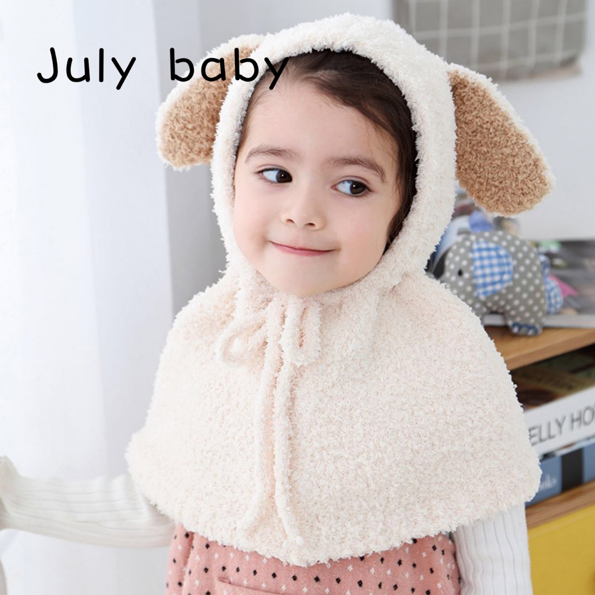 July Baby Cute Autumn And Winter Soft Warm Children's Hat New Cartoon Dog Plush Shawl Male And Female Baby Cloak Suit Siamese