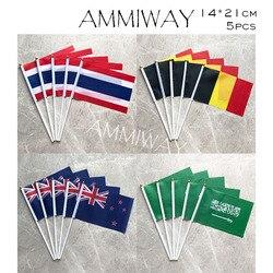 Ammiway 14x21cm 5 pçs tailândia arábia saudita mão acenando bandeiras bélgica nova zelândia poliéster mão bandeira com mastros de plástico