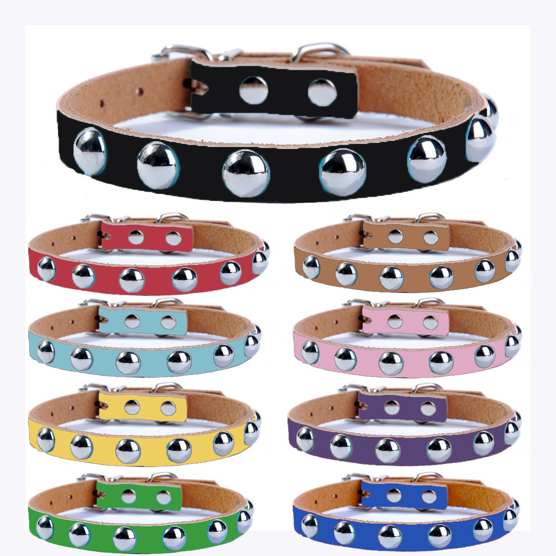 Pet Dog Collar Pure Leather Mushroom Nail Anti-Bite Rivet Small Dog Cat Neck Ring Genuine Leather Dog Chain