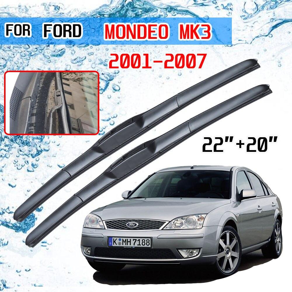 Para ford mondeo mk3 2001 2002 2003 2004 2005 2006 2007 acessórios do carro frente brisas lâminas de limpador escovas u tipo j gancho|Limpador de parabrisas|   -