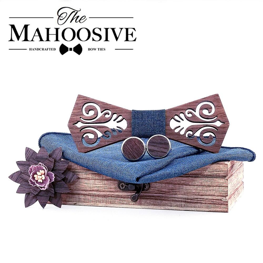Mahoosive Tie Wooden Bow Ties Papion Man Boda Coffret Cadeau Homme Cut Out Model With Blue Handkerchief Cufflinks