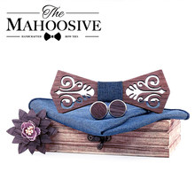 Mahoosive Tie Wooden Bow Ties papion man boda coffret cadeau homme cut out model with blue handkerchief cufflinks(China)