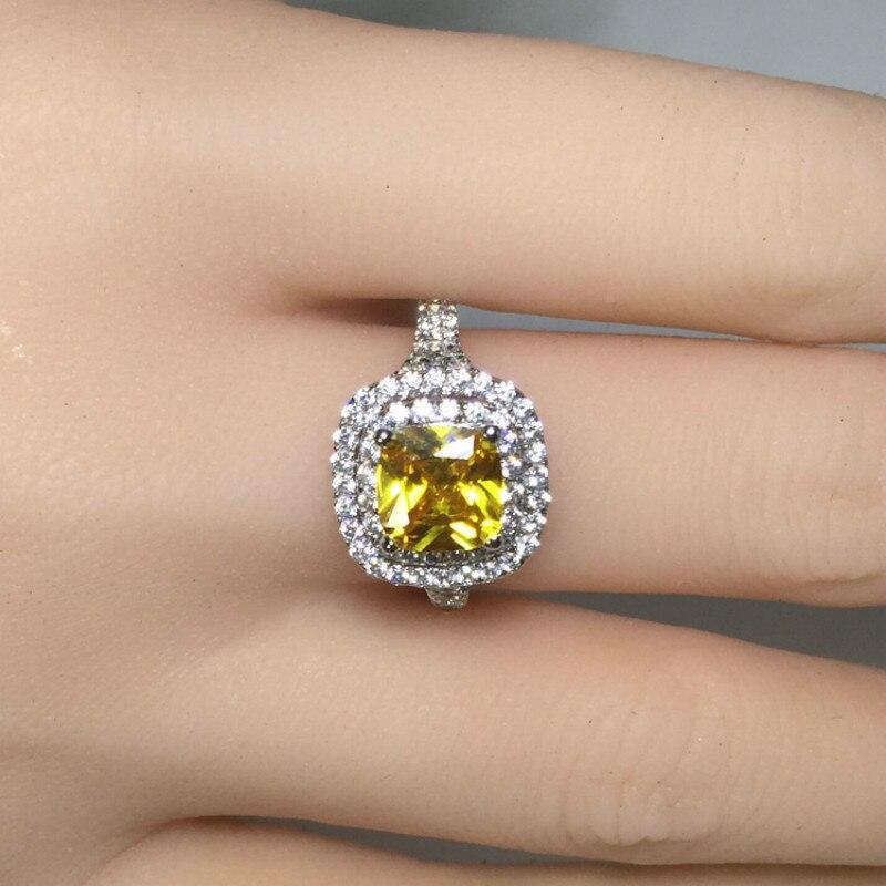 2ct Carat luxe anneaux ronds jaune CZ bague de fiançailles de mariage SONA S925 argent Sterling or blanc couleur femmes bijoux - 2