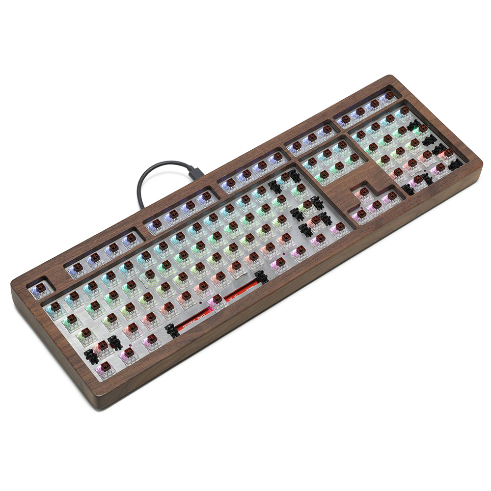 AOPO 108 100% Mechanical Keyboard With Wooden Case Custom Light Rgb Type C Usb With Software Programmable Hot Swappable Switch