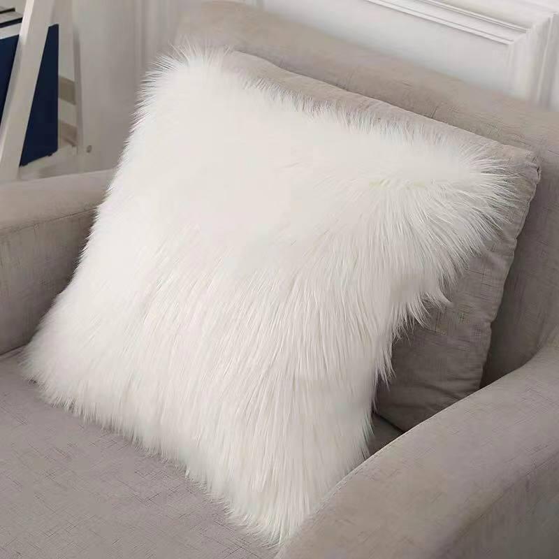 1 2 3 4 5pcs fluffy pillows cover long plush fur white cushions cover decorative pillows bed sofa super soft pillow case 45x45cm