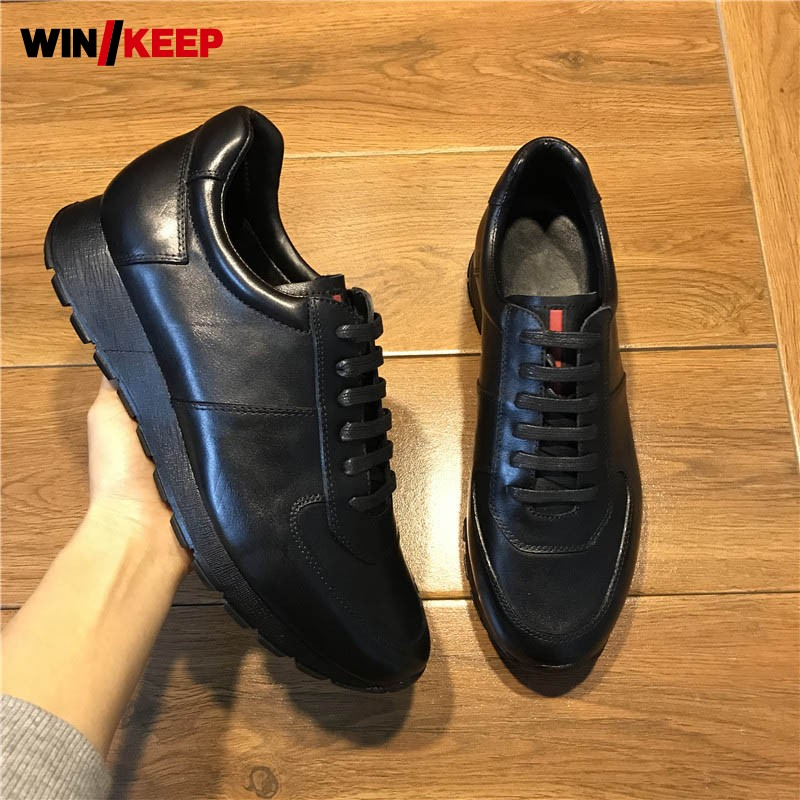 Brand Men Genuine Leather Shoes Winter Luxury Height Increasing Platform Sneakers British Style Business Lace Up Sport Shoes
