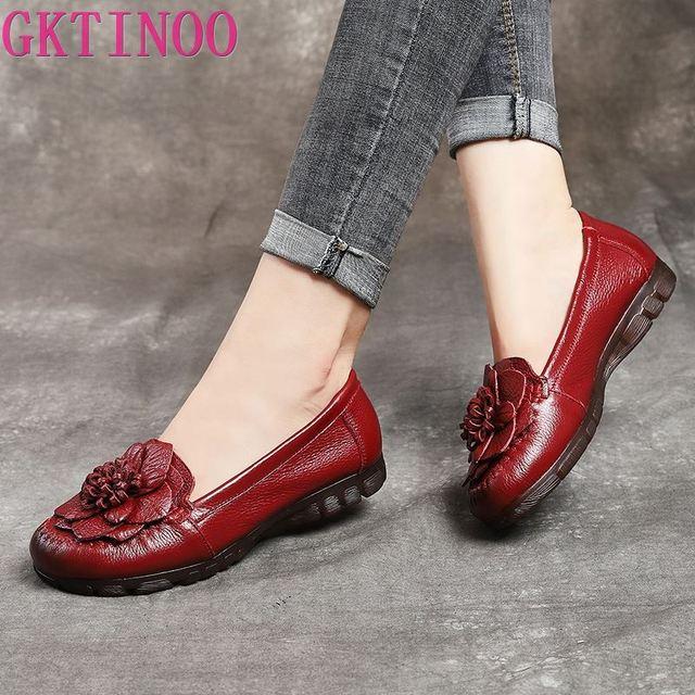 Модные женские туфли GKTINOO 2020 из натуральной кожи, лоферы, женская повседневная обувь, мягкая удобная обувь, женские туфли на плоской подошве с цветами