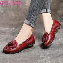 Gktinoo 2020 Mode Vrouwen Schoenen Echt Leer Instappers Vrouwen Casual Schoenen Zachte Comfortabele Schoenen Bloemen Vrouwen Flats