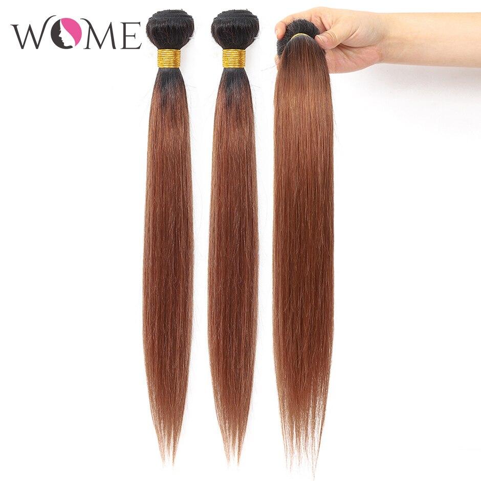 WOME/эффектом деграде(переход от темного к прямые волосы пряди предварительно цветной 1b/27 1b/30 1b/99j человеческие волосы пряди 1/3/4 шт. два тона волосы с разной направленностью кутикулы - Цвет: T1B/30