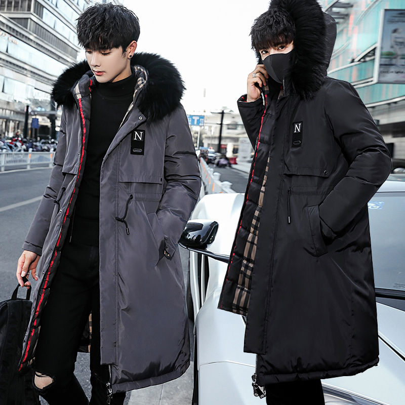 Fashion Winter Jacket Men Hooded Thicken Warm Parka Long Coat Casual Loose Mens Overcoat Cotton Padded Jacket Plus Size M-5XL