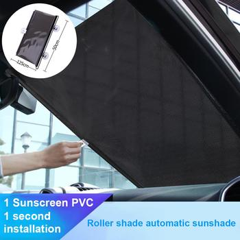 Sun Visor Car Sun Shade For Car Front Windshield Retractable Roller Sunshade Anti-UV Heat Insulation 50cm With 2 Suction Cups image