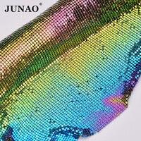 JUNAO 45*150cm Gitter Colorful AB Rhinestone Trim Fabric Sheet Aluminum Metal Mesh Diamond Strass Banding For Decoration