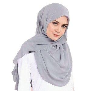 Image 5 - M2 10pcs Hot sale  plain bubble chiffon hijab scarf shawl wrap  lady headband women scarf/scarves 180*75cm
