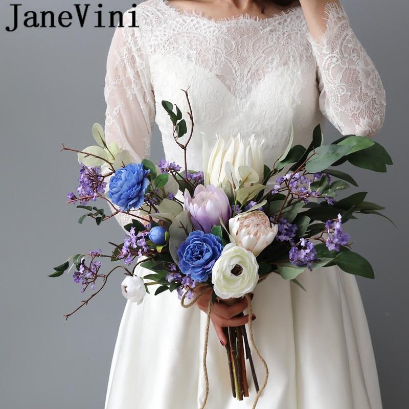 JaneVini Ramo De Novia Blue Purple Wedding Flowers Bridal Bouquet Elegant Artificial Silk Emperor Flower Brooch Bride Buquet