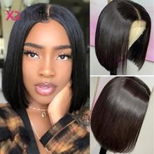 Xq em linha reta bob perucas de cabelo humano 4x4 fechamento do laço perucas brasileiro curto bob peruca para as mulheres negras 100% remy peruca cabelo pré arrancado