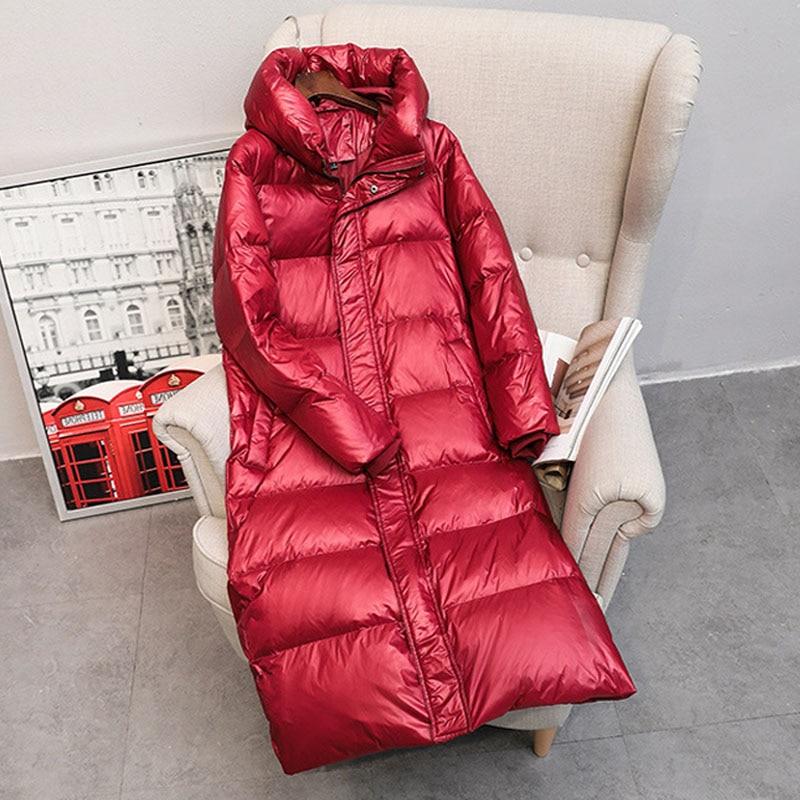 Куртка на 90% белом утином пуху 2019, женская зимняя куртка, длинное плотное пальто для женщин, пуховик с капюшоном, теплая Женская одежда, водонепроницаемая