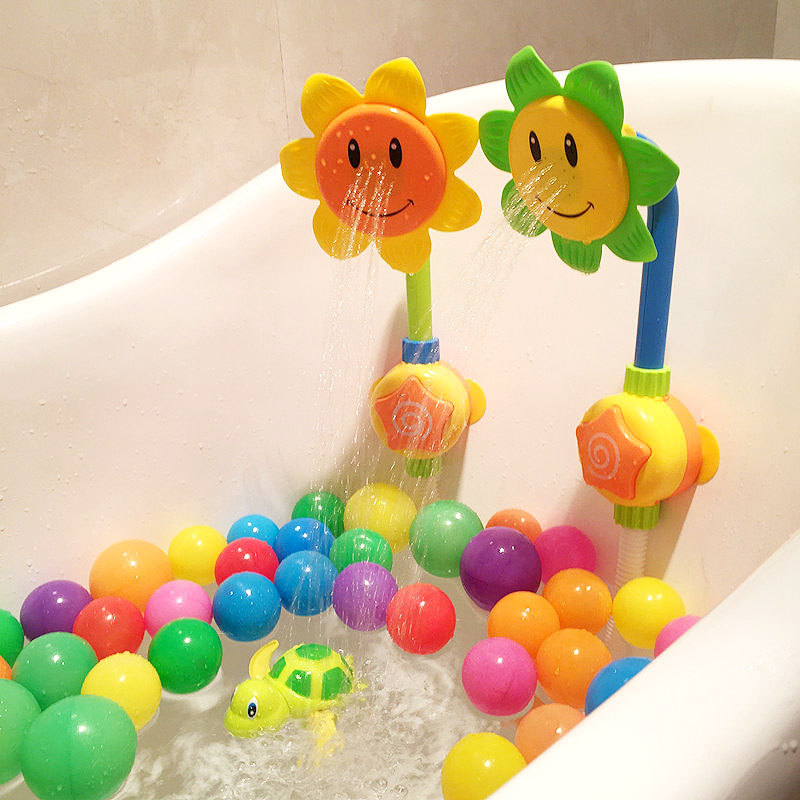 Baby Bath Toy Bathing Tub Sunflower Shower Faucet Spray Water Swimming Bathroom Bath Toys For Baby Funny Bathing Sprinkling Game