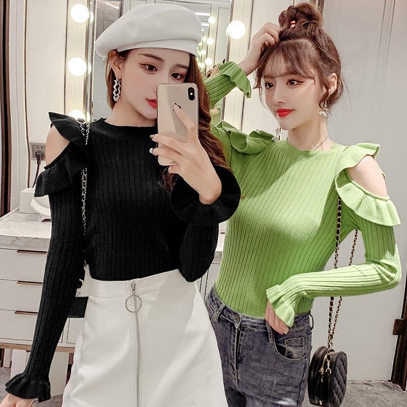 2019 Autumn Ruffles Sweater Women Sweet Flare Sleeve Slim Winter Sweater Pullover O Neck Casual Female Jumper Knitwear Tops