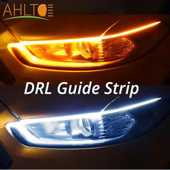 2Pcs 30cm/45cm/60cm Flexible DRL Strip Waterproof Slim Turn Signal Yellow Flowing Daytime Running Lights Car Styling