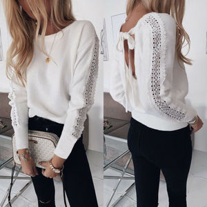 New Fashion Women Autumn Winter Long Sleeve Baggy O Neck Loose Top Shirts Lace Backless Ladies Casual Jumper Tops Plus Size