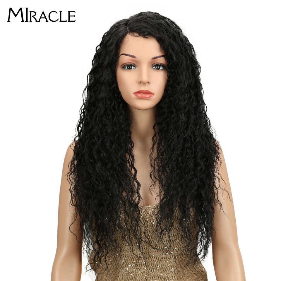 Miracle Hair Soft Kinky Curly Natural Black Long Synthetic Lace Wigs For Black Women 26 Inch