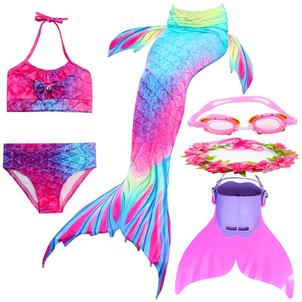 Girls Mermaid Tail For Kids Swimming Costume Swimsuit With Monofin Swimmable Fin Cosplay Halloween Gift With Garland Bikini Suit