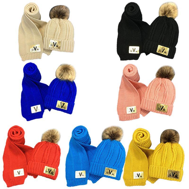 Toddler Kids Winter Chunky Crochet Pompom Warm Lining Beanie Hat Long Scarf Set 35EF