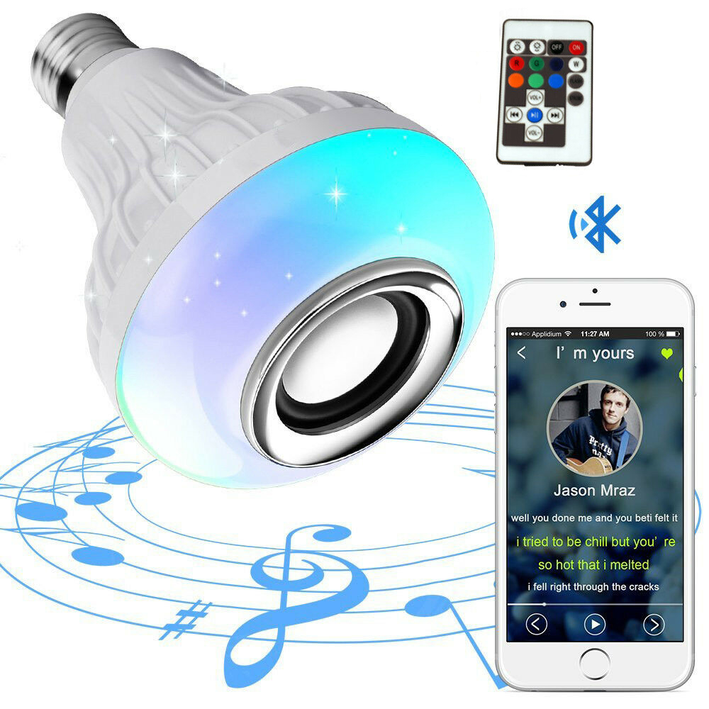 LED Light Bulb With Integrated Bluetooth Speaker 12W E27 RGB Changing Lamp Wireless Stereo Audio With 18 Keys 110V 220V Remote C