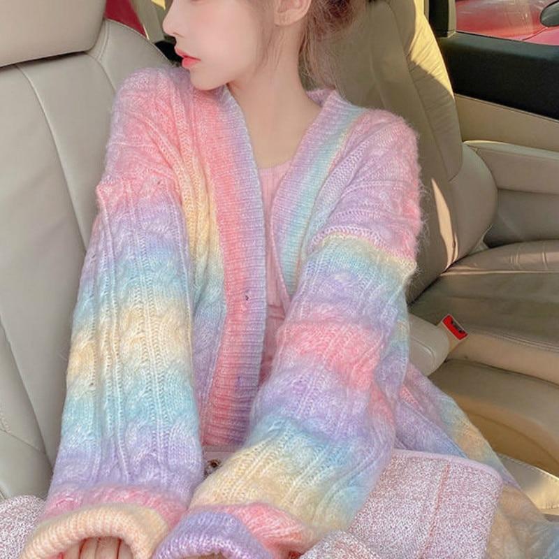 Радужный вязаный кардиган, женский осенне-зимний милый кавайный свитер, пальто, женский длинный корейский Кардиган на пуговицах, осень 2020