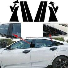 Глянцевые черные чехлы для дверей и столбов, виниловые наклейки для окон и столбов, автомобильные наклейки