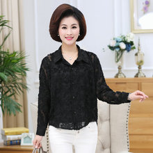 Spring Women Black Lace Shirts Turn Down Collar Button Front Long Sleeve Chic Classy Tops For Woman Casual Shirt Fashion Wear цена 2017