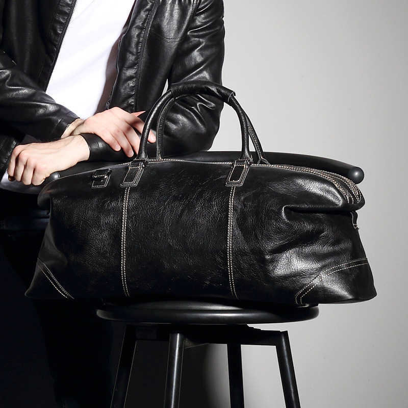 Leather Travel Bag Men's Handbag Large Capacity Business Travel Luggage Top Layer Leather Travel Bag