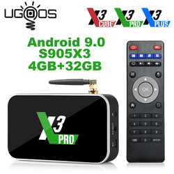Ugoos X3 Pro 4GB RAM 32GB DDR4 Amlogic S905X3 Dispositivo de TV inteligente Android 9,0 Dual WiFi 1000M 4K X3 cubo 2G 16G X3 Plus 64G Set Top Box