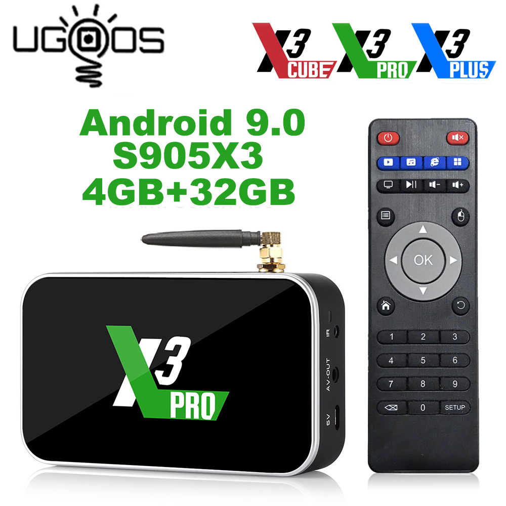 Ugoos X3 Pro 4GB RAM 32GB DDR4 Amlogic S905X3 Smart TV Box Android 9.0 Dual WiFi 1000M 4K X3 Cube 2G 16G X3 Plus 64G Set Top Box