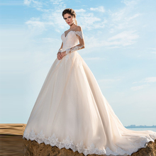 Verngo Ball Gown Wedding Dress 2020 Lace Appliques Wedding Gowns Long Sleeves Elegant Bride Dress Vestido De Noiva Princesa verngo ball gown wedding dress appliques tull wedding gowns lace up bride dress princess wedding dress destido de noiva sereia