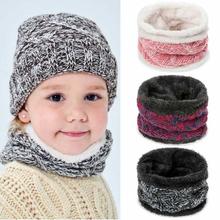 Szaliki dziecięce czapki zestawy zimowe dla dzieci Plus aksamitne pomyśl ciepłe czapki z dzianiny czapki dziewczyny chłopcy szalik czapki czapki dla dzieci czapka szalik tanie tanio ezchii WOMEN Poliester Baby s Scarfs Hats Sets Stałe Szalik Kapelusz i rękawiczki zestawy Moda