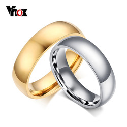 Vnox Vintage Wedding Ring for Lover 6mm Stainless Steel Smooth Promise Jewelry
