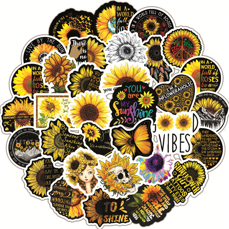 50PCS Sunflower you are my sunshine Stickers Decal to DIY Scrapbook Laptop Guitar PS4 Car Helmet Classic Toy Sticker