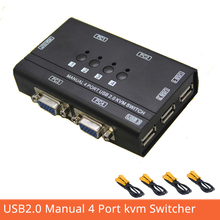 Купить с кэшбэком 4 Port USB2.0 kvm Switch Manual Control 4 PC Hosts by 1 Set of USB Keyboard Mouse and VGA Monitor Multi PC Manage Send Cables