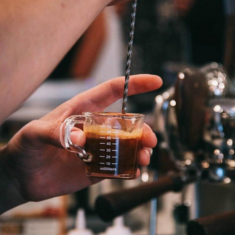 Isıya dayanıklı cam bardak ölçme jigger espresso kahve için çift ağızlı ons fincan 70ml küçük süt kupası