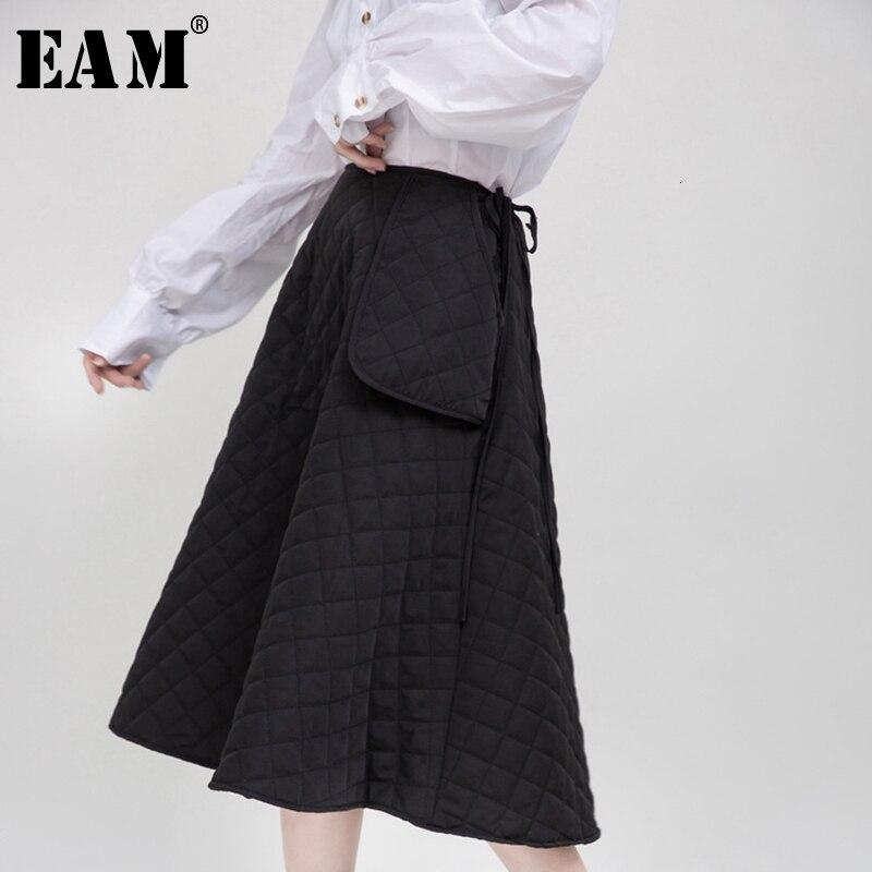 [EAM] High Waist Back Big Pocket Split Joint Cotton-padded Half-body Skirt Women Fashion Tide New Spring Autumn 2020 1M946